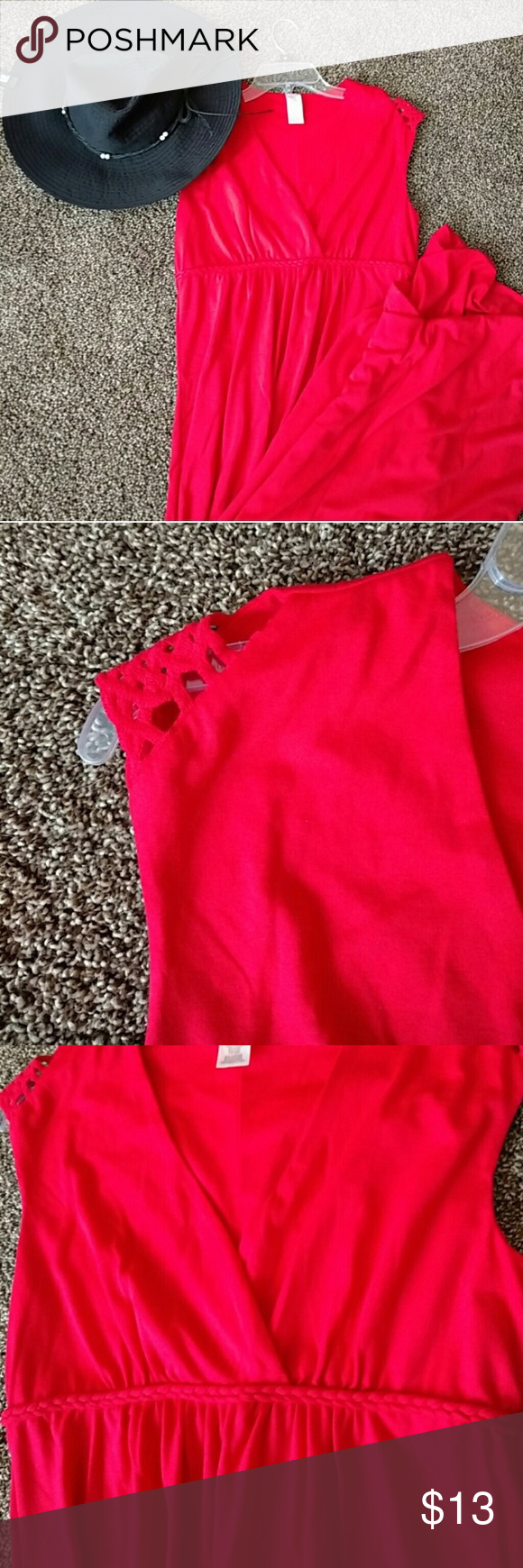 Red maxi dress size small empire waist with detail red maxi