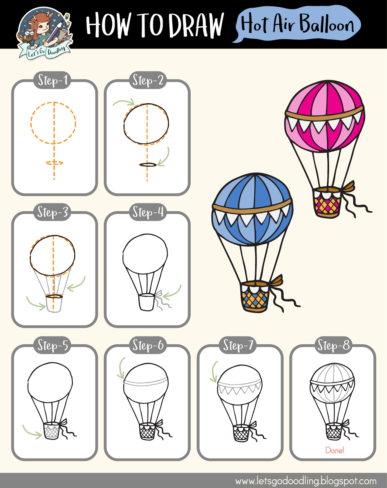 How To Draw Hot Air Balloon - Easy Step By Step Drawing ...