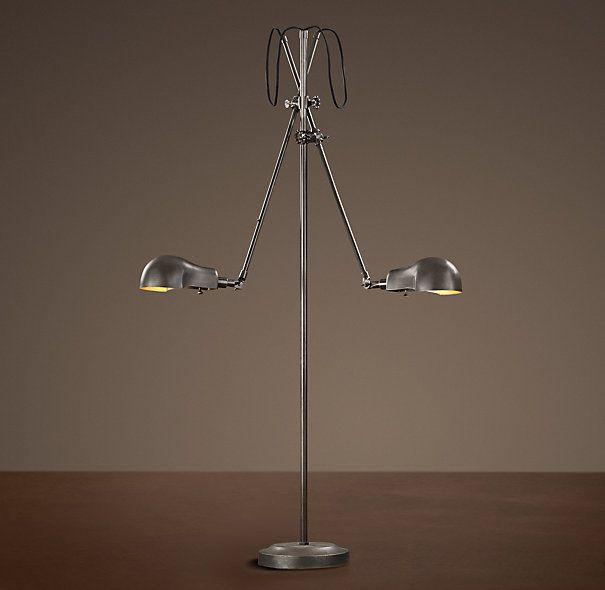 Restoration Hardware Floor Lamps >> 1900s Pharmacy Double Arm Floor Lamp Family Room Dining