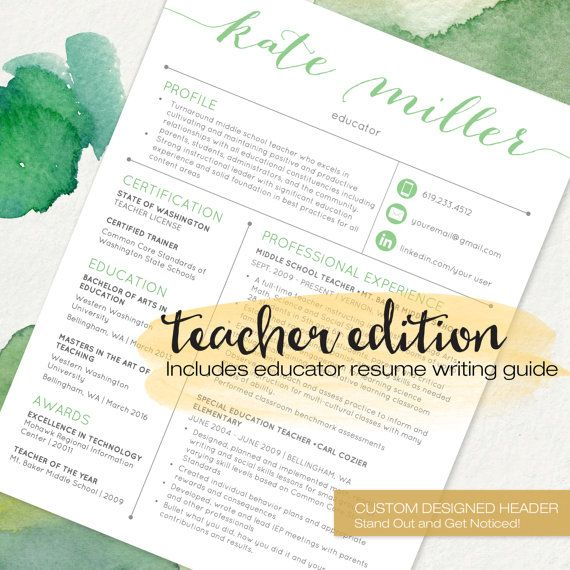 Teacher Resume Templates are designed specifically with educators - middle school teacher resume