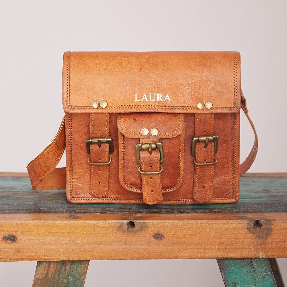 Personalised Vintage Style Brown Leather Satchel Shoulder Etsy Bags Leather Handbags Brown Leather Satchel Leather Satchel