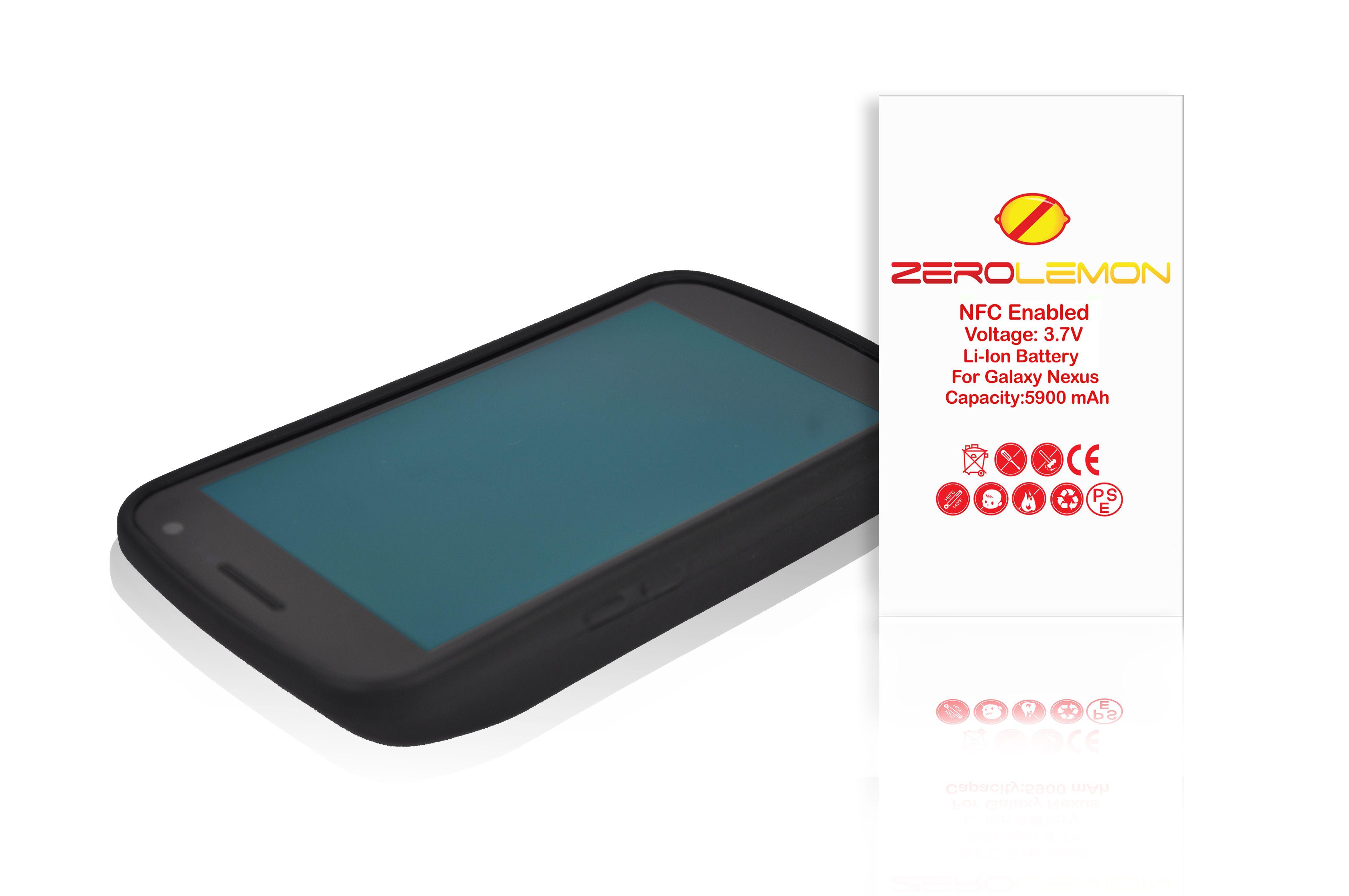 brand new a3d79 eb9dc ZeroLemon Samsung Galaxy Nexus 5900mAh Extended Battery + Free Black ...