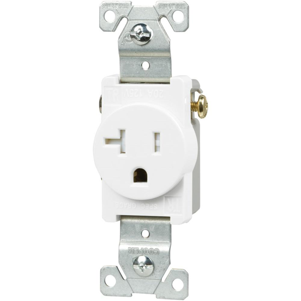 Eaton 20 Amp Heavy Duty Grade Straight Blade Tamper Resistant Single Outlet White Tr1877w Bxsp In 2020 Eaton Straight Blade Electrical Outlets