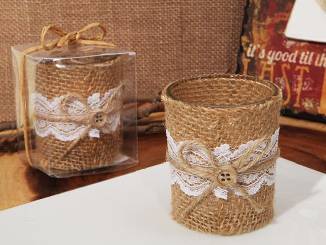 Lace And Burlap Rustic Candle Holder