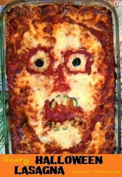Scary Halloween Lasagna Halloween Food Ideas Pinterest