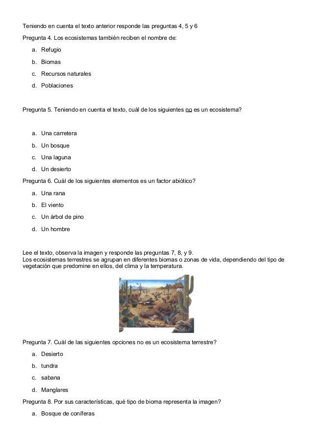 Examen de naturales prueba saber 4ºb | actividades para