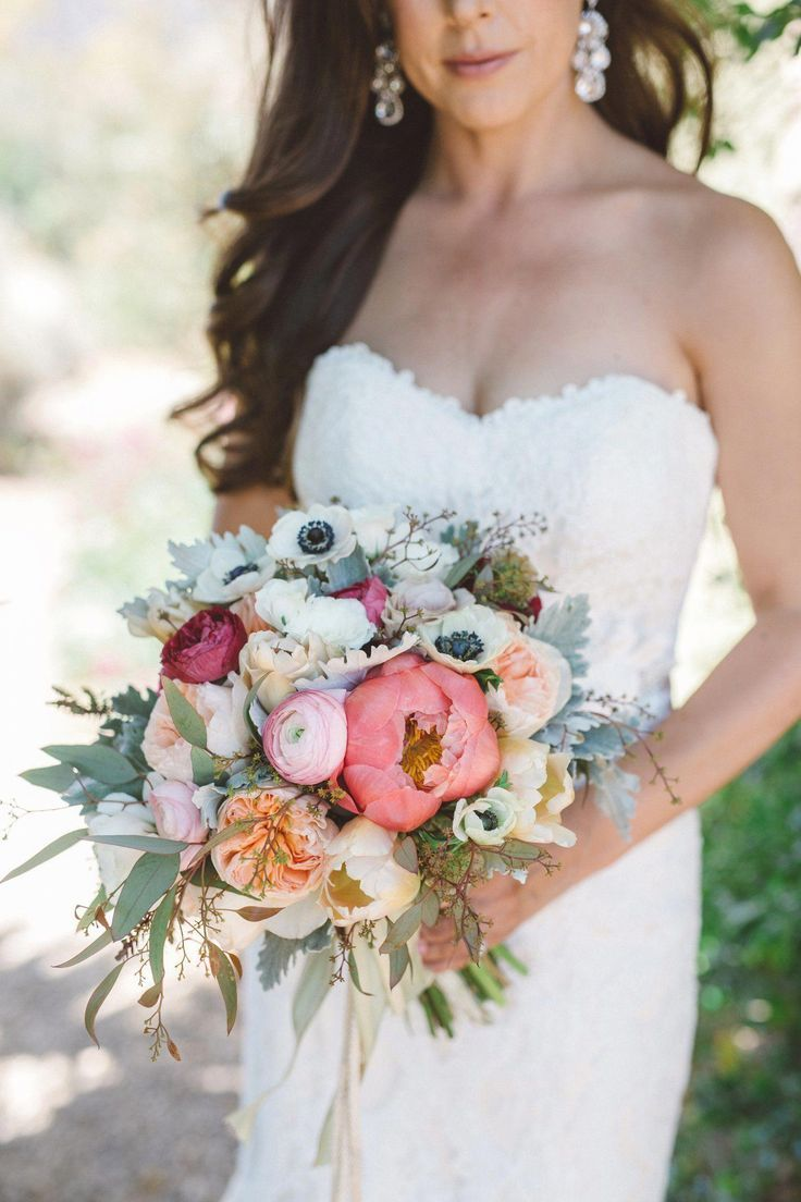 Large Bridal Bouquet With Eucalyptus, Peonies, Anemones
