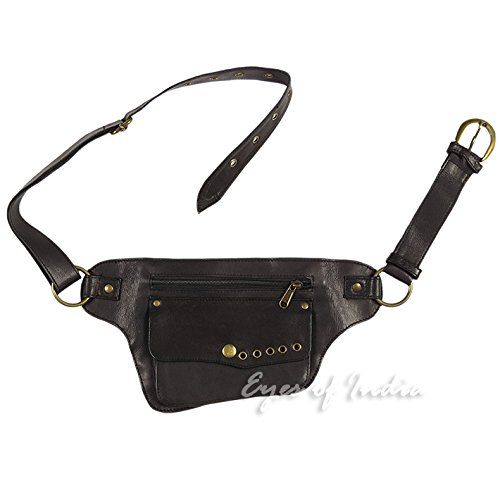 6e334019b EYES OF INDIA - BLACK LEATHER BELT BUM WAIST HIP BAG POUCH Fanny Pack  Utility Pocket Travel Sale 50%. Now only  42.95