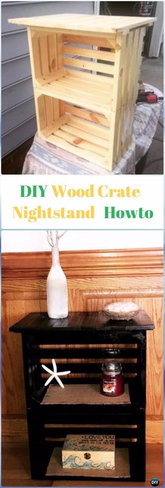 Diy Wood Crate Nightstand Instructions Video Diy Wood Crate  # Muebles Faciles Liniers