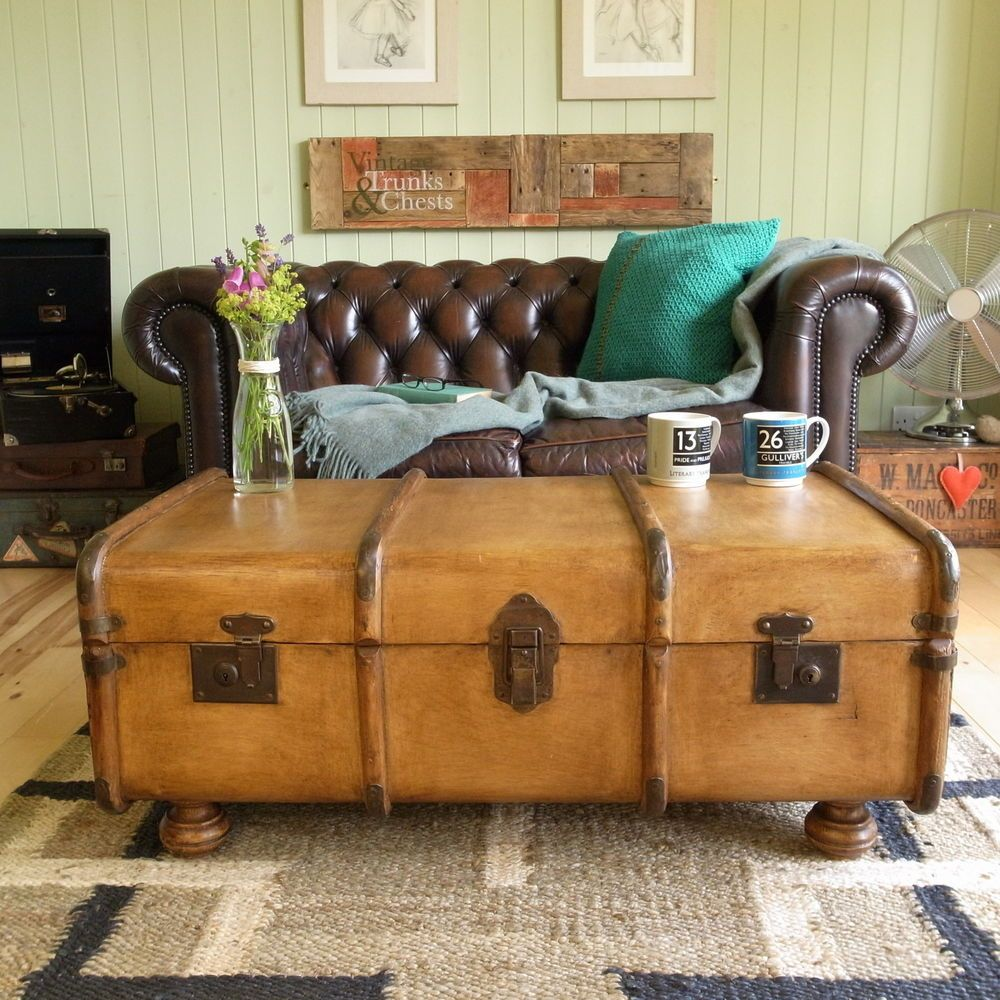 Mexican Trunk Coffee Table: Details About VINTAGE Chic 1930s Bentwood BANDED STEAMER