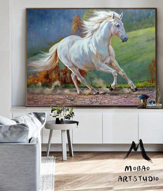 White Horse Painting Large Canvas Art Horse Decor Horse Oil Painting Large Oil Painting Horse Wall Art Large Wall Art Living Room Art M5132 White Horse Painting Horse Painting Large Canvas