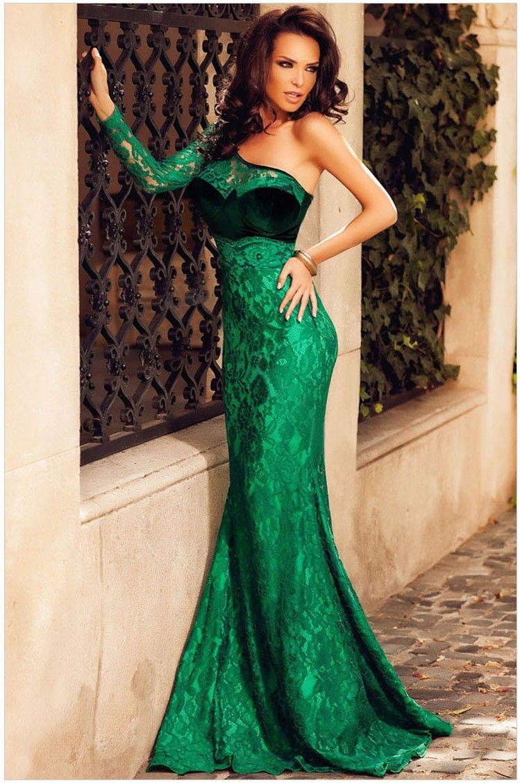 Sexy Women Long Dress Lace Velvet Insert One Shoulder Mermaid Bodycon Maxi Evening Gown Green