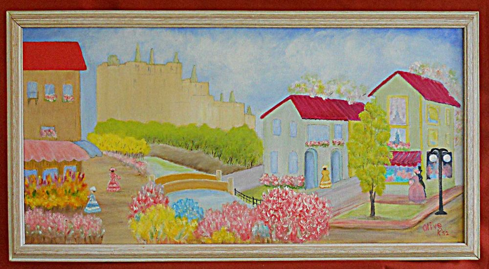 Naive Vintage Painting Olive Kraats Victorian Village Fortified Castle  1962 #naive