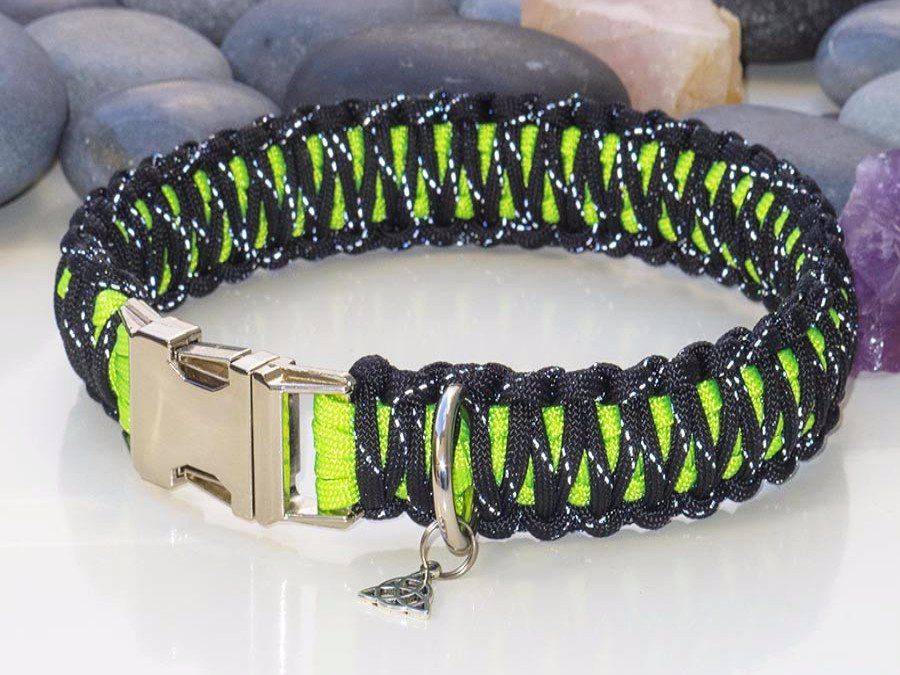 Red Fluorescent Yellow Camo Engraved Paracord Dog Collar