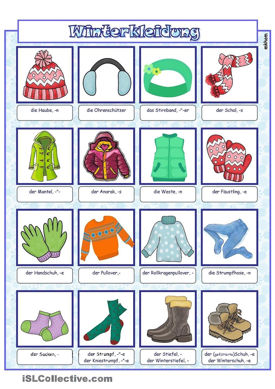 bildw rterbuch winterbekleidung daz german grammar german words und kindergarten. Black Bedroom Furniture Sets. Home Design Ideas
