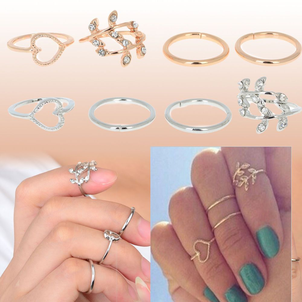 4PCS/Set Rings Urban Gold Plated Crystal Plain Above Knuckle Ring band Midi Ring #NewLook #KnuckleRing