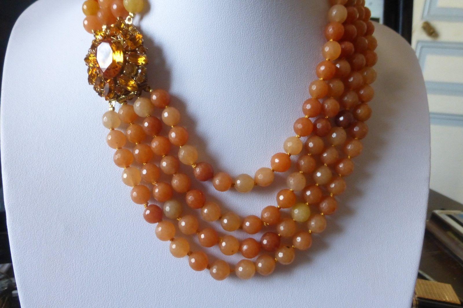 9ct or jaune perle//bead collier bijoux fermoir 2 rang