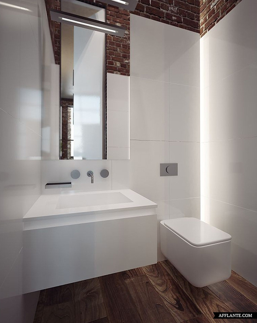 Combinatie van wit, houtlook tegels en baksteen | Bathroom ...