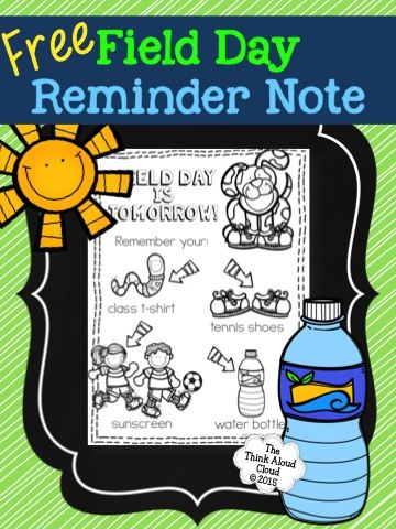 Five For Friday Celebration And Field Day Freebie Field Day Field Day Games Notes To Parents