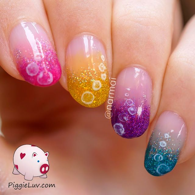 Piggieluv Glitter Tornado Nail Art With Opi Color Paints: Glitter Bubbles Nail Art With OPI Color Paints & Sheer