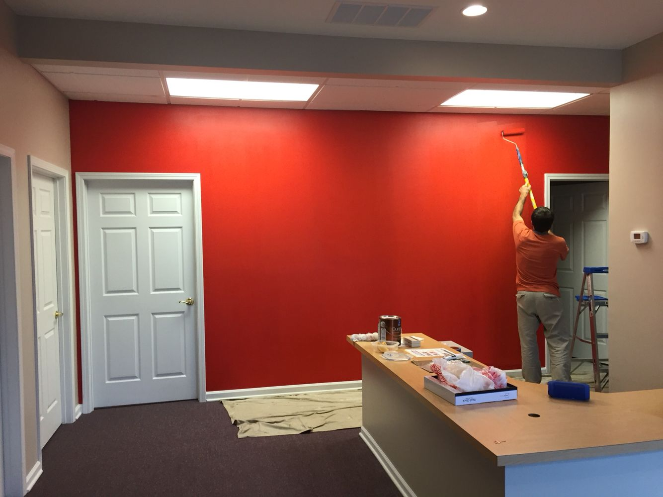 industrial office decor. Industrial Office Project For State Farm Insurance. Real Red Color:-) Decor