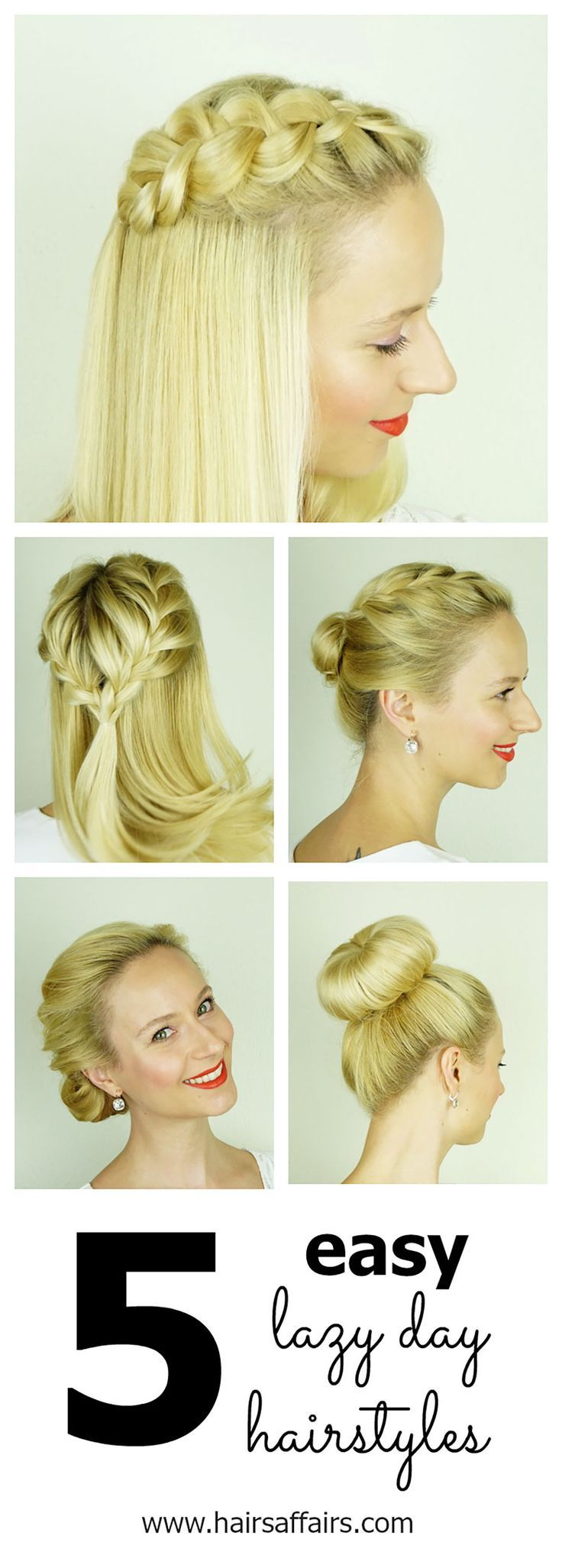 5 lazy day hairstyles | short hairstyles | pinterest | hairstyles