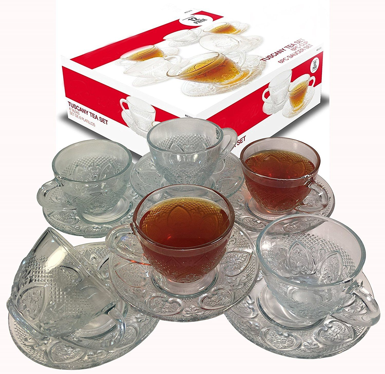Cup & Saucer Set Glass Tea Coffee Cup Glass