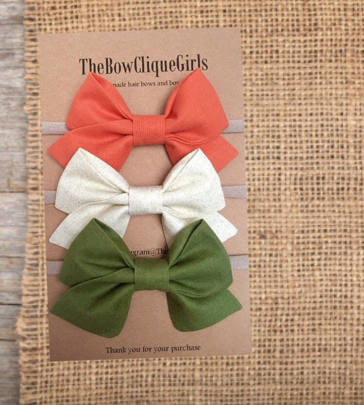 d7e68b6aba33 Fall/Autumn Collection Set. Hair bows for girls, Olive green, cream ...