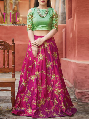 Latest Designer New Style Crop Top Skirt Lehenga Crop Top Fashion Lehnga Designs Crop Top Skirt