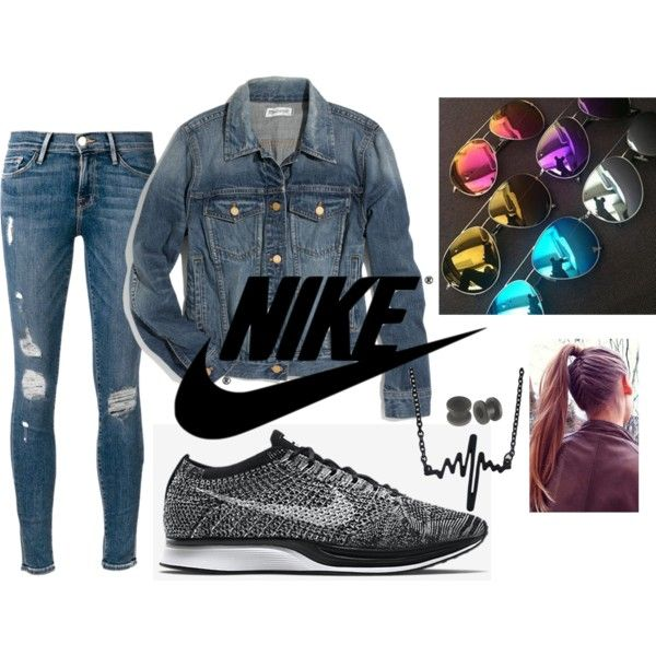 Nike and Jeans by musa-innovator on Polyvore featuring polyvore fashion style Madewell Frame Denim Ks Mixx NIKE