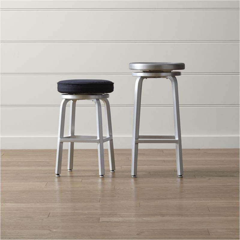 Spin Swivel Backless Bar Stools Crate And Barrel In 2020 Bar Stools Backless Bar Stools Counter Stools Backless