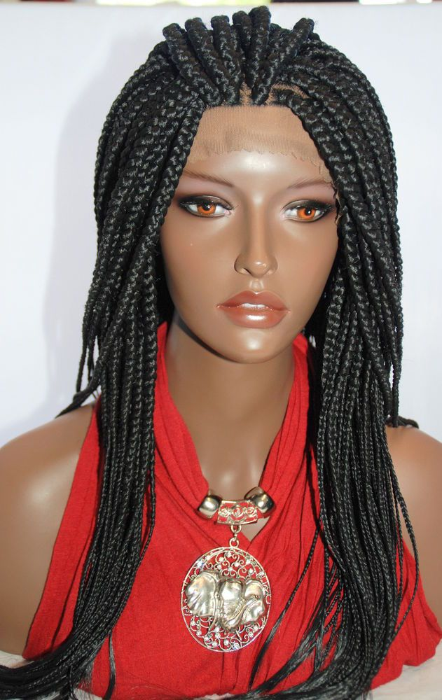 "Fully hand braided lace front wig - Anita color #1 in 22"" Box braid 