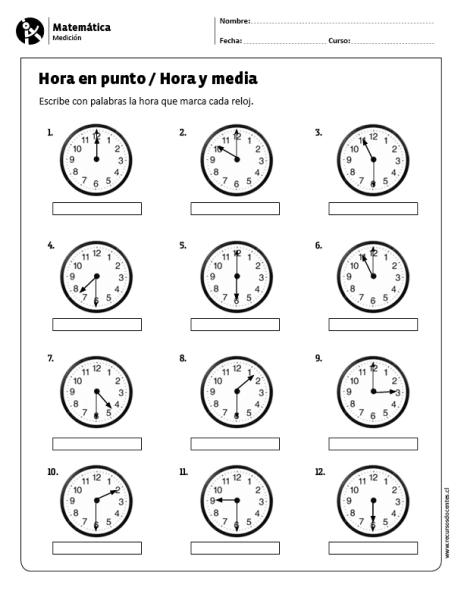 Hora En Punto Hora Y Media Fichas De Matematicas Actividades De Geometría Actividades De Matematicas