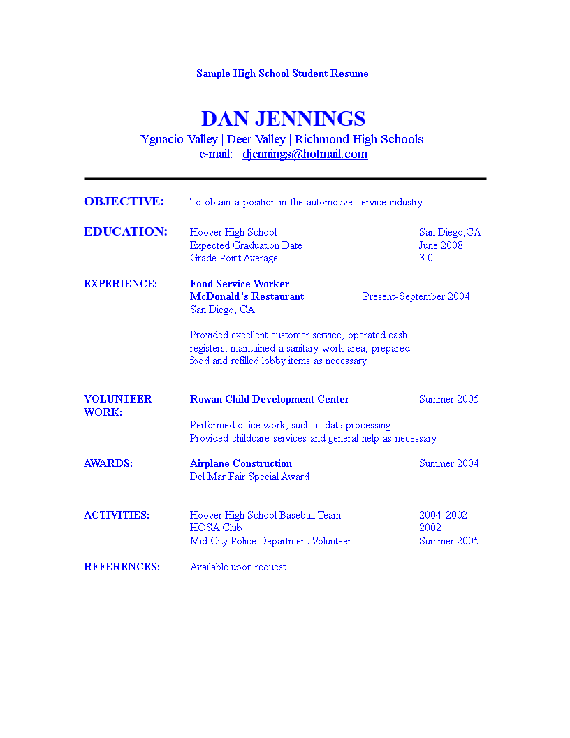 High School Student Resume - How to create a High School Student ...