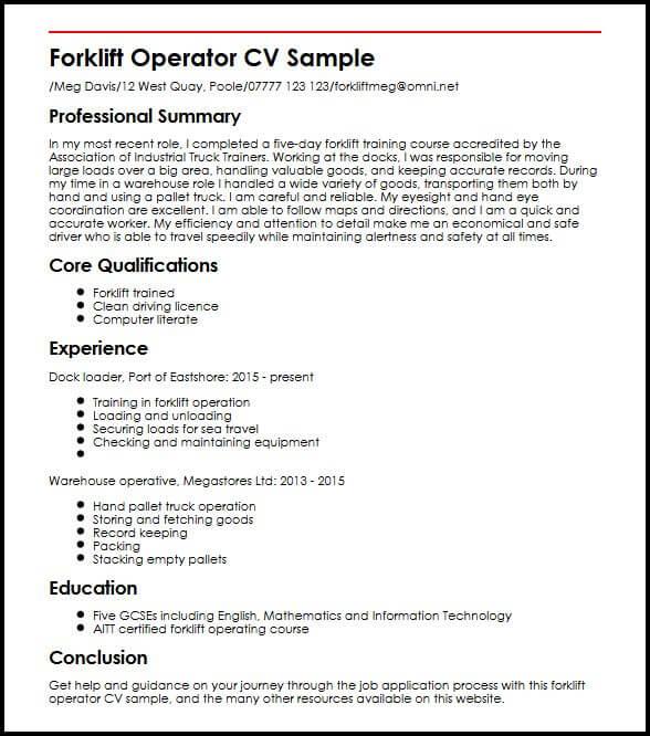 Forklift Operator CV Sample MyperfectCV Resume
