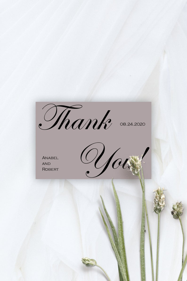 classic wedding thank you card template minimal thank you