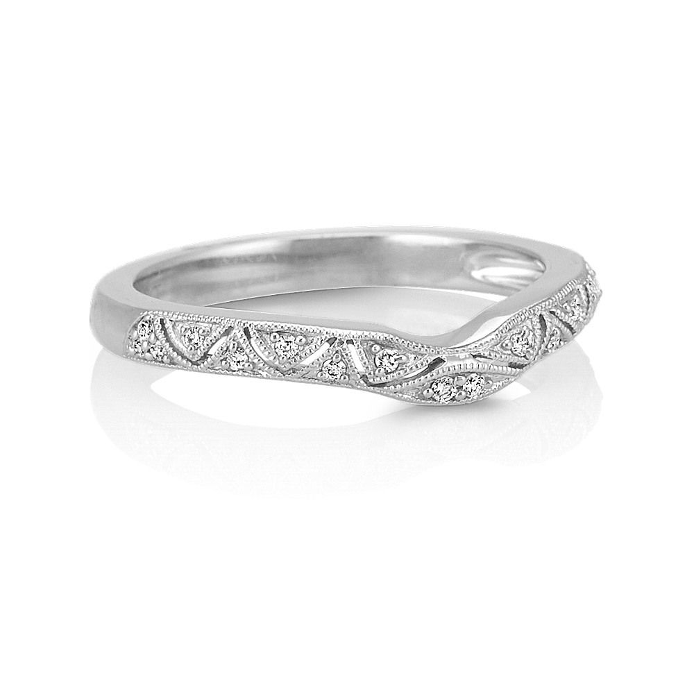 Vintage Diamond Contour Wedding Band In 2020 Diamond Wedding Bands Vintage Engagement Rings Contour Wedding Band