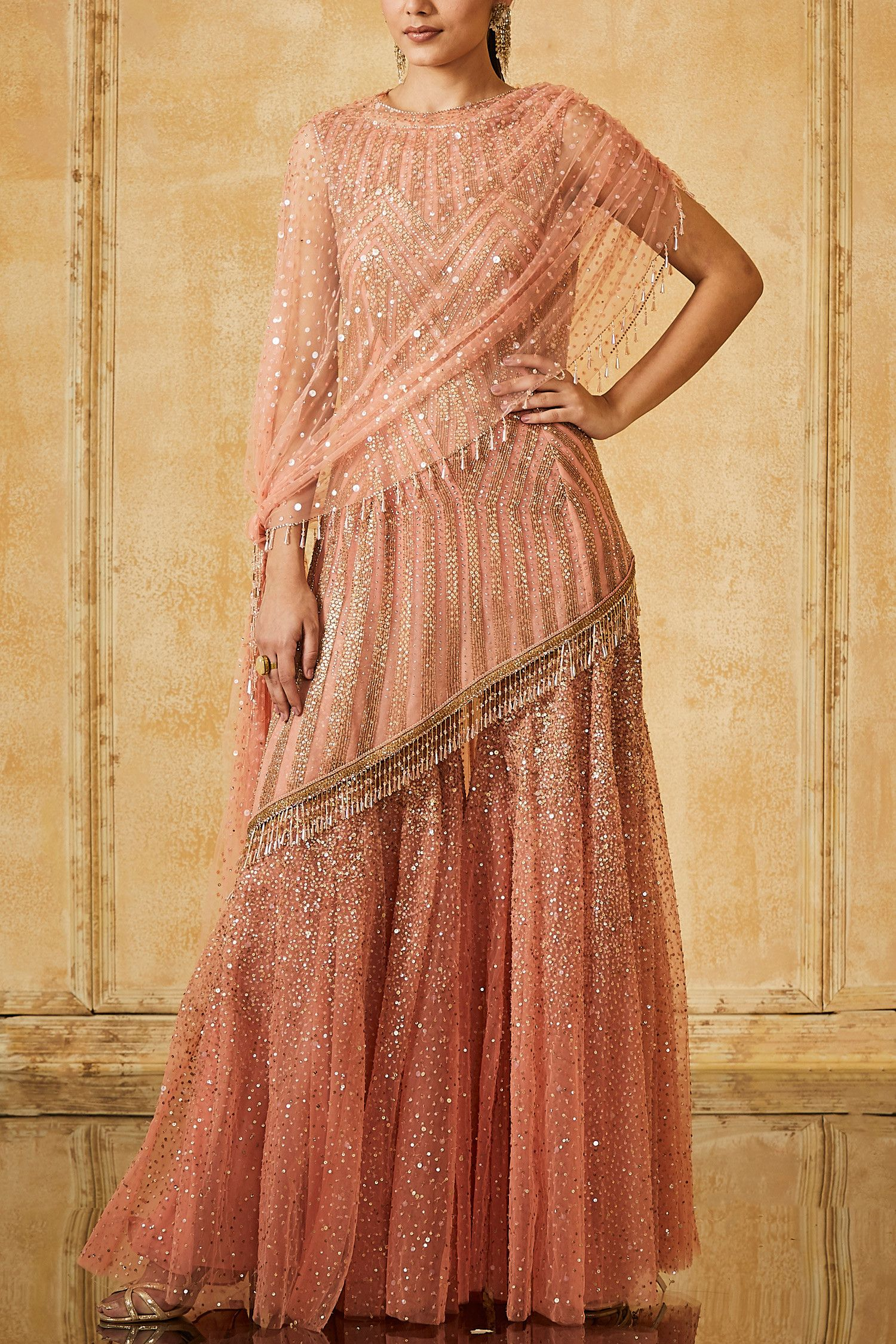 Peach Sharara With Kurti And Dupatta Designed By Tarun Tahiliani At Aashni Co Fashion Indian Fashion Designers Sharara Designs