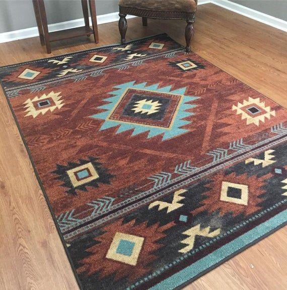 Southwest Rug Native American Style Rug Southwestern Rug Etsy In 2020 Southwest Rugs Southwestern Area Rugs Southwest Style Decor