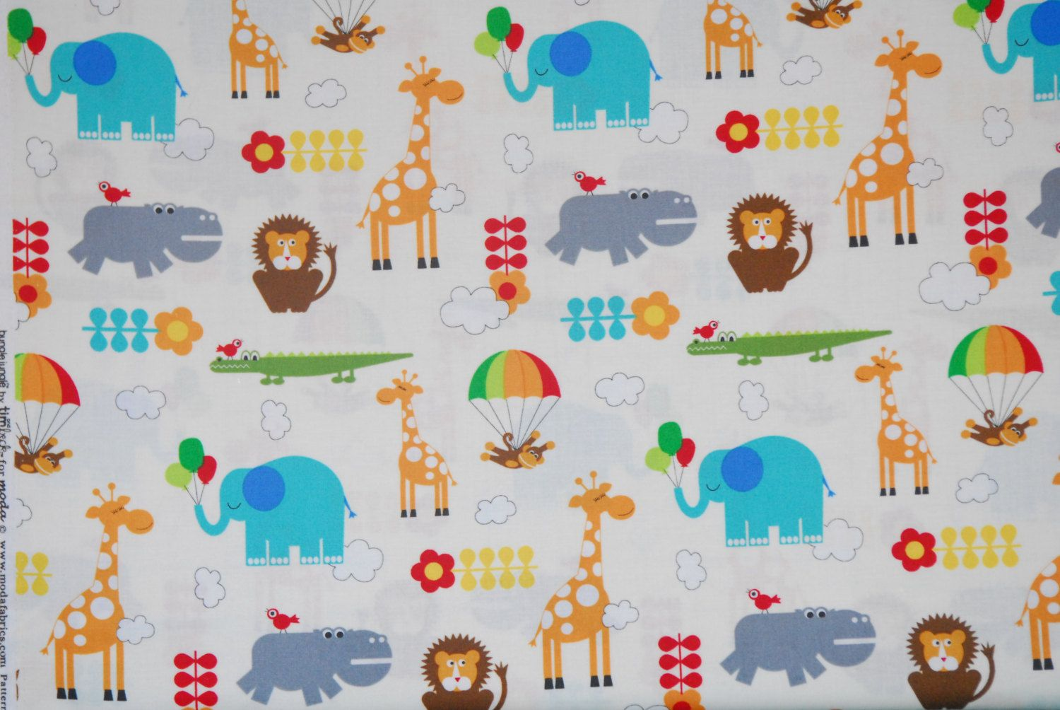 SALE 25% OFF Bungle Jungle Animal Fabric by tim and beck for Moda 100 Percent Quality Cotton Pattern 39501 Ivory - $2.24 USD