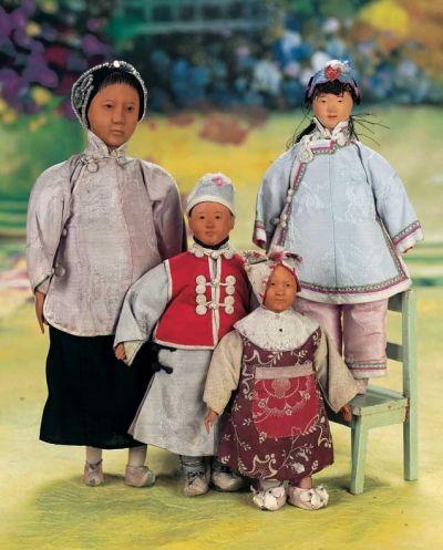 A Fine Pretending Tea: 12 Four Chinese Wooden Door of Hope Dolls,Three Children