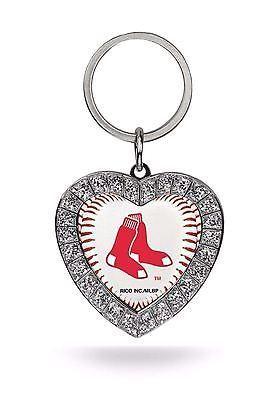 Boston Red Sox Keychain Womens MLB Rhinestone Heart Key Ring ... 8552a7005e