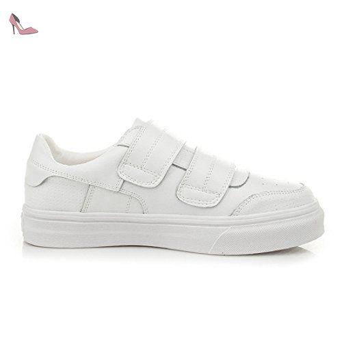 Mocassin plat femme chaussure loisir loafers velcro légère chaussure bateau  flâneur basket mode blanc 37 - 65f7e3a33e4e