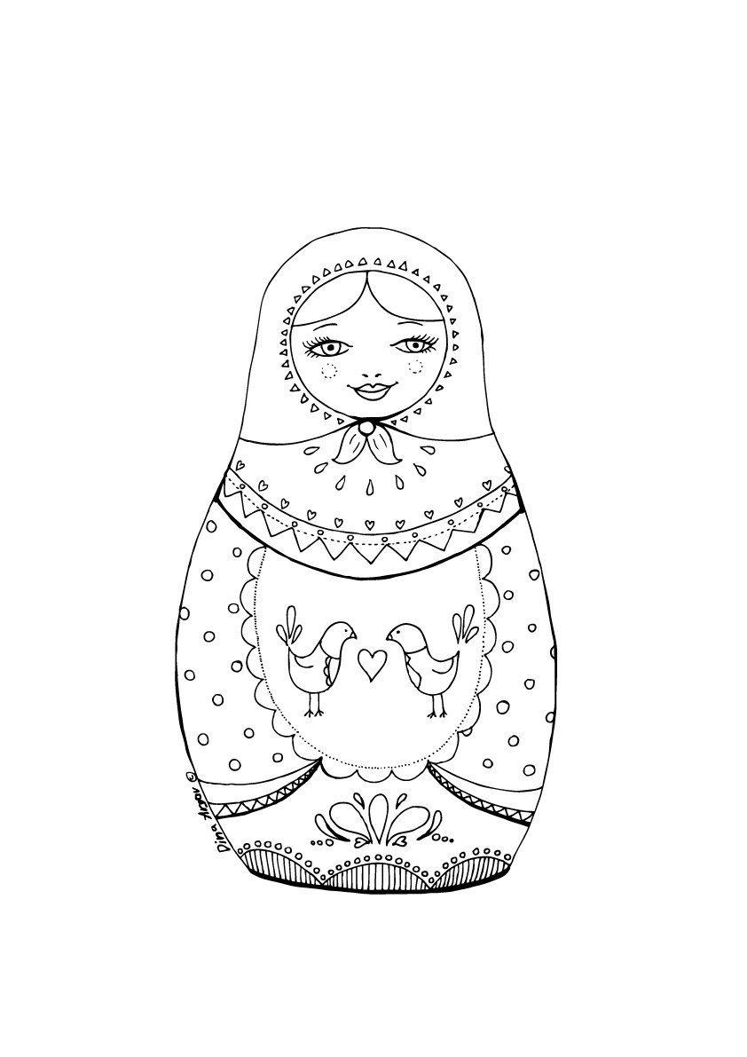 Printable coloring page PDF Matryoshka illustration folk art birds ...