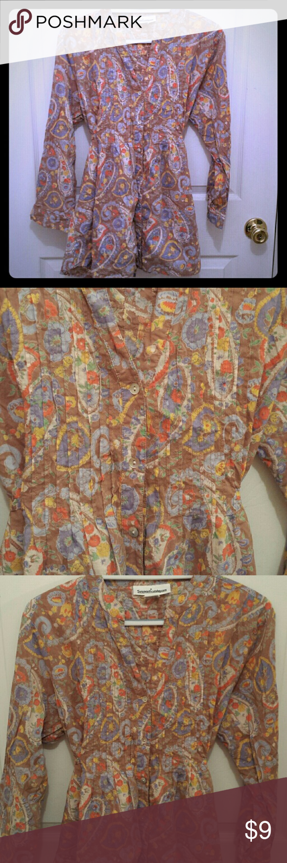 Light brown paisley tunic Very light brown/taupe tunic with a paisley print. Button front and ties in the back. Size large, excellent condition. serengetic Tops Tunics