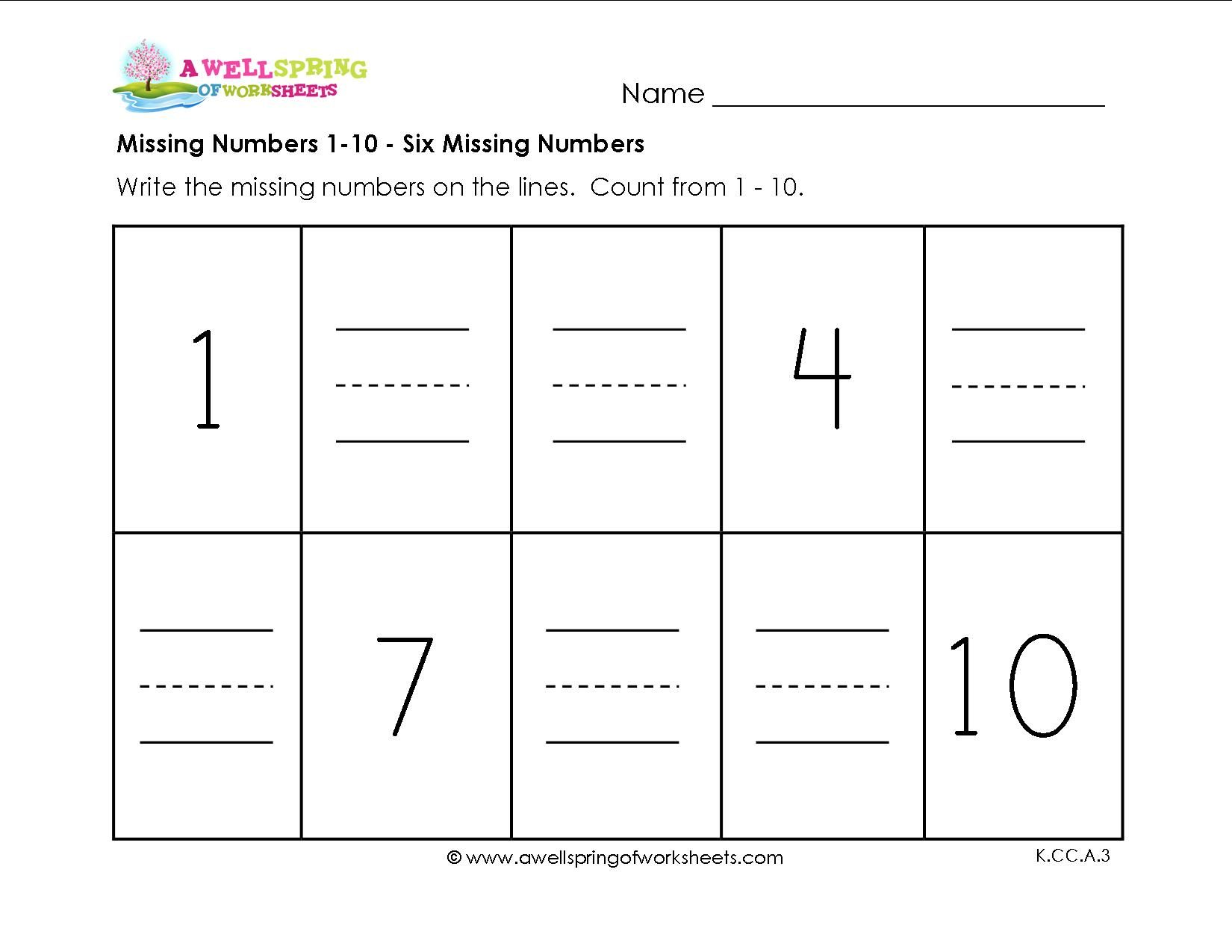 Worksheet Missing Numbers Worksheet 1 To 10 missing numbers 1 10 six premium jpg number worksheets