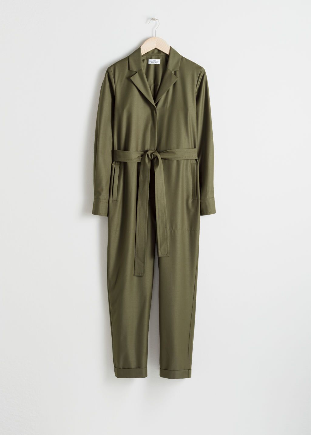 9f168d3a072 Belted Wool Blend Boilersuit - Khaki - Jumpsuits   Playsuits -   Other  Stories