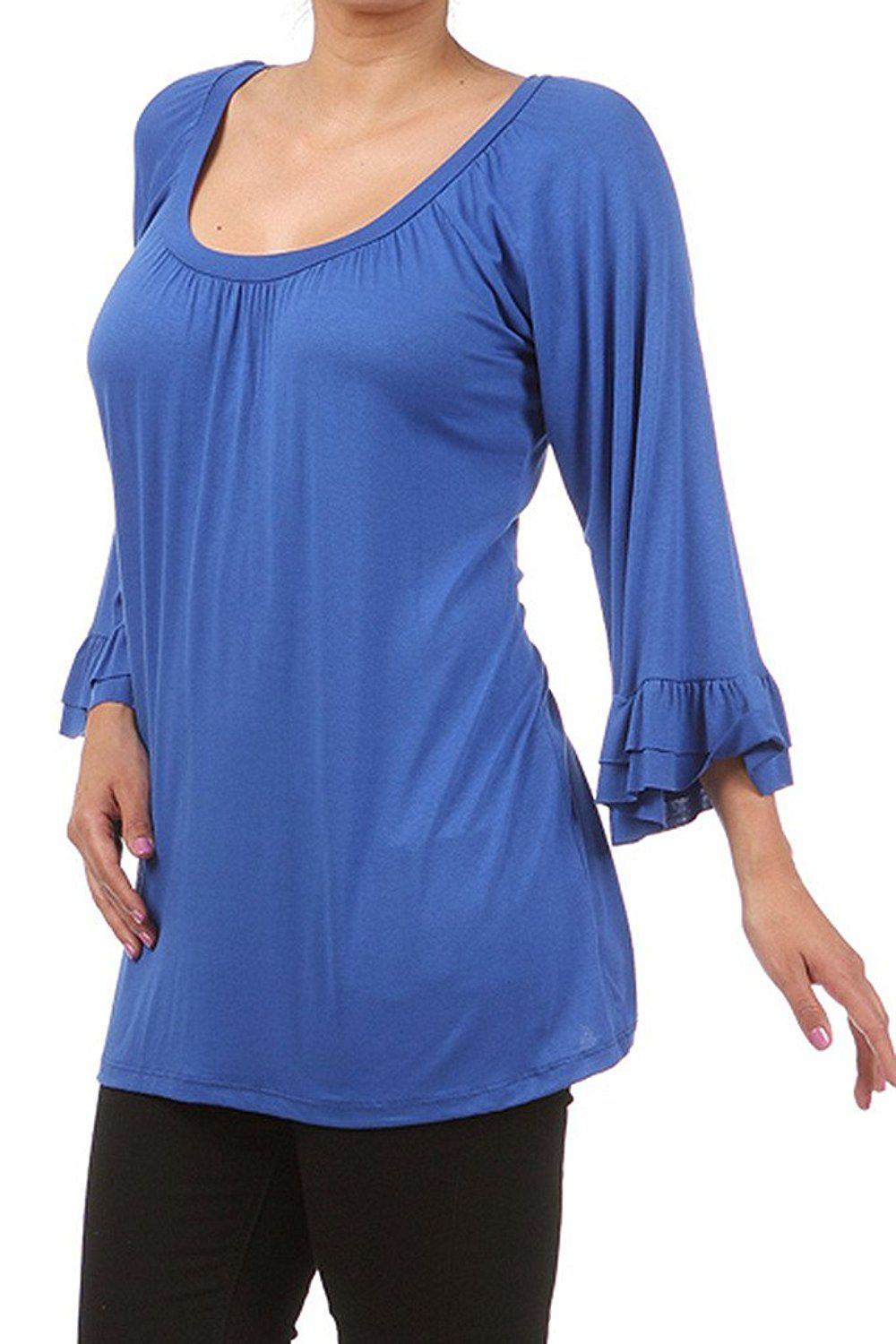 Vintage teestube womens plus size casual loose fit ruffle tunic top with bell sleeves