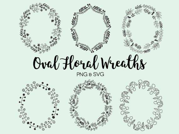 Photo of OVAL FLORAL WREATHS, hand-drawn wreaths, doodle clipart, floral wreaths, rustic, drawn wreaths, png, svg, vector wreaths, wedding, minimal