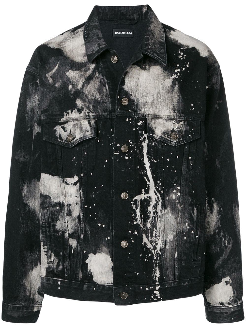 Balenciaga Paint Stain Denim Jacket Farfetch Bleached Denim Jacket Denim Jacket Men Denim Jacket Men Style [ 1334 x 1000 Pixel ]